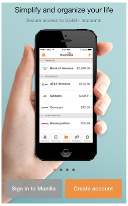 Download the Bill and Account Manager app Manilla for free and never have a late payment again!