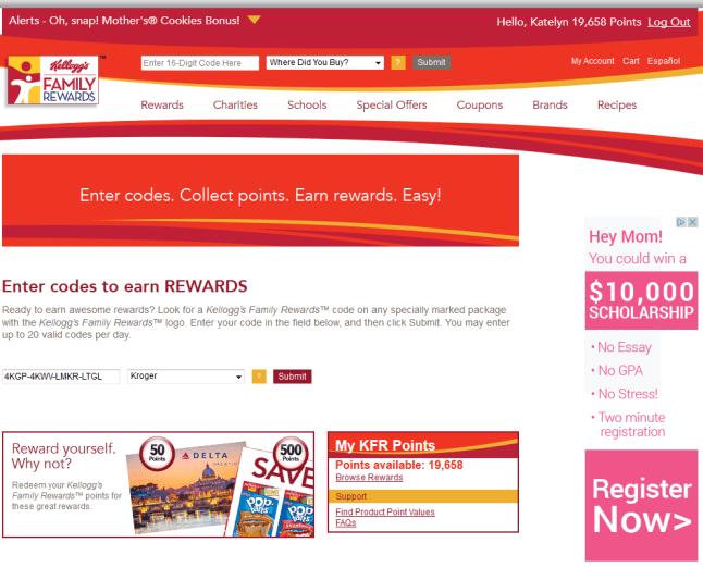 Kellogg's Family Rewards Website Entry Forms
