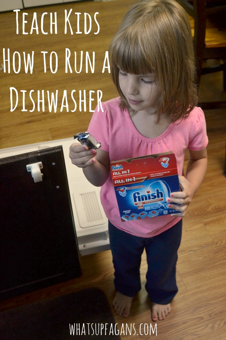 Clearing the table isn't cutting it anymore. It's time for teaching my kids how to load the dishwasher and run it too! #dishwasher #chores #choresforkids #kids #kidchores #householdchores #chore #finish