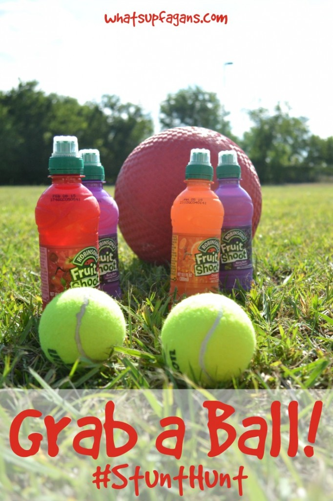 Grab a ball and encourage your kids to do a #StuntHunt with #Fruitshoot! #ad