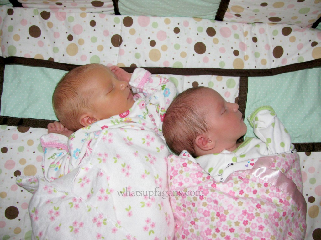 Have your newborn twins share a bed! Such a great sleeping arrangement in the beginning.