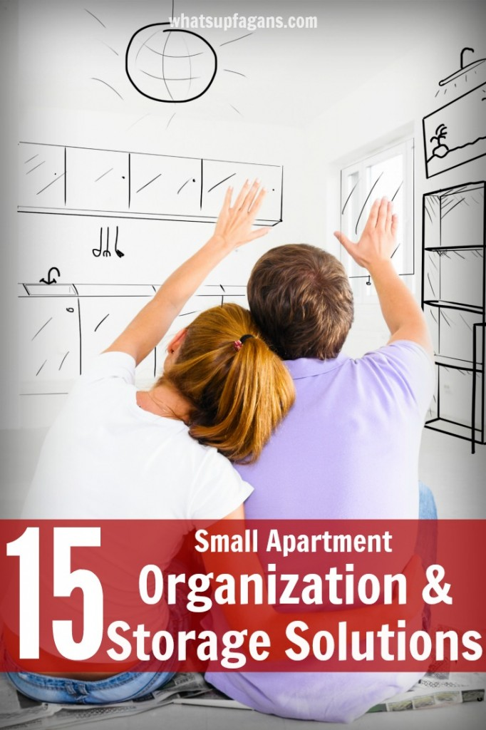 15 Small Apartment Living Organization Ideas and Storage Solutions.  Some great tips on organizing in a small living space. Definitely going to implement some of them.