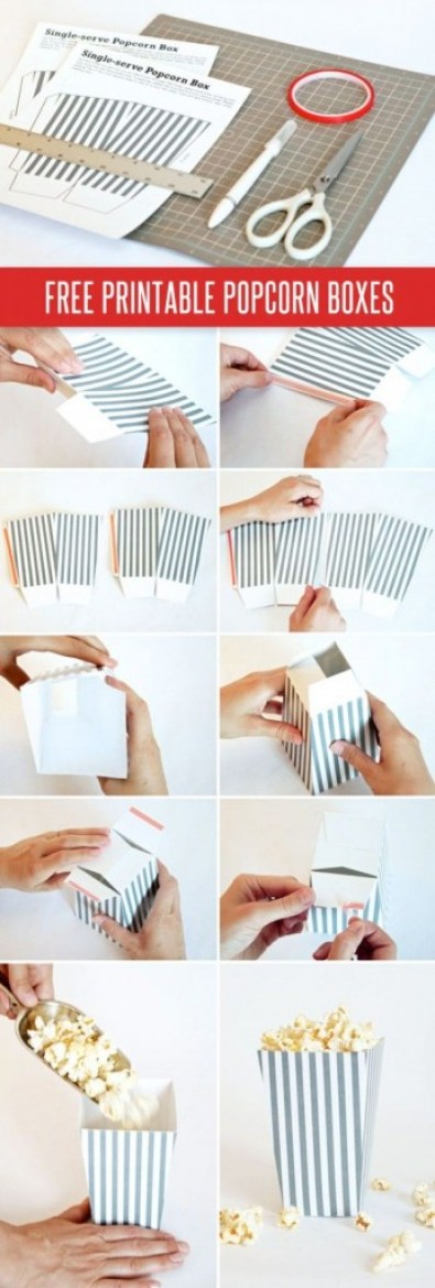 Popcorn Box Tutorial Template DIY