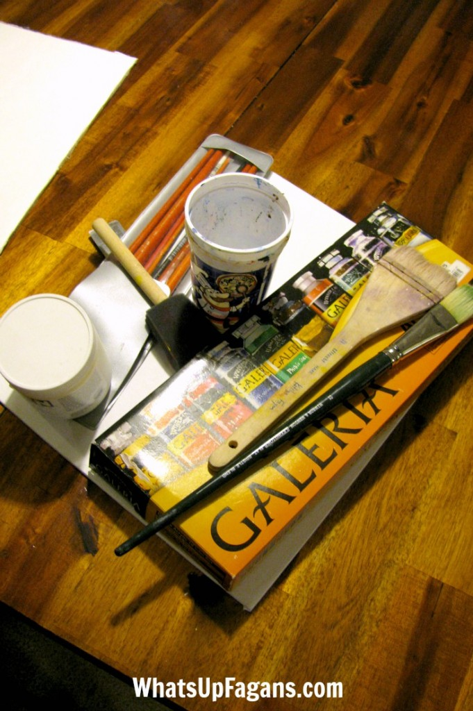 Painting supplies on a table. Perfect idea for an art date night at home.