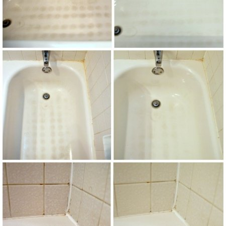 Great before and after! Cleaning bathroom tips - how to clean a bathtub. Wish I would have used this before.