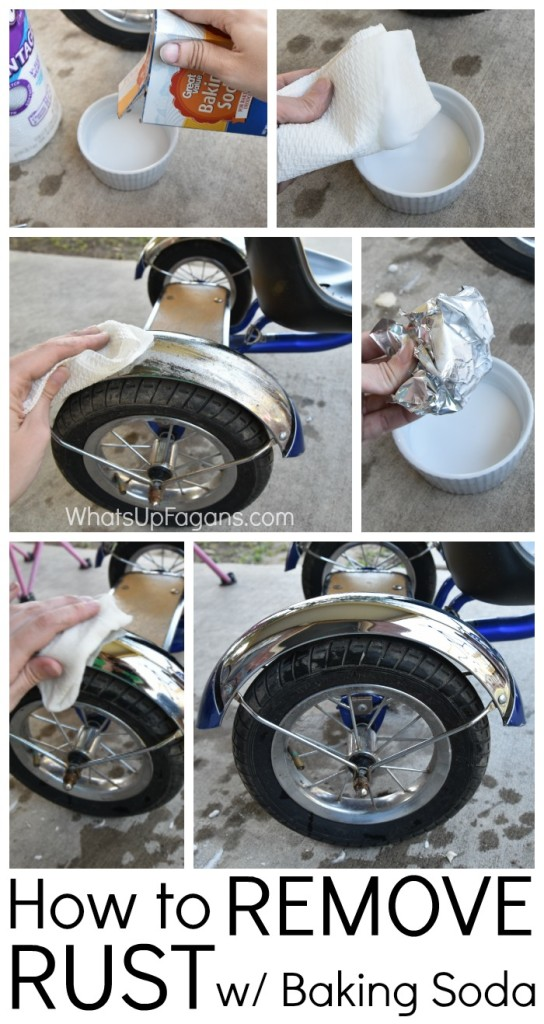Great DIY Cleaning Tutorial on Removing rust from a boy's tricycle with baking soda