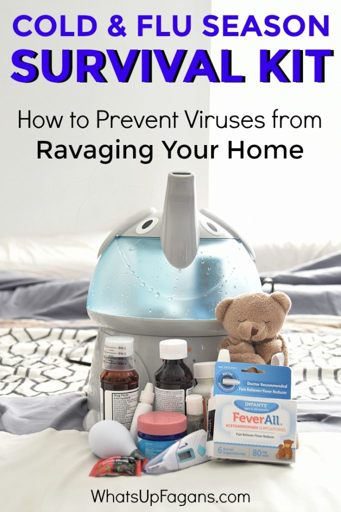 How to put together a Fall and Winter Cold & Flu Season survival kit! Plus tips on preventing viruses and germs from spreading like crazy in your home. Great advice for moms.