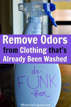 The MOST amazing way to remove odor from clothes, especially when clothes smell after washing! This DIY De-FUNK-ifier solution works great for laundry smells!