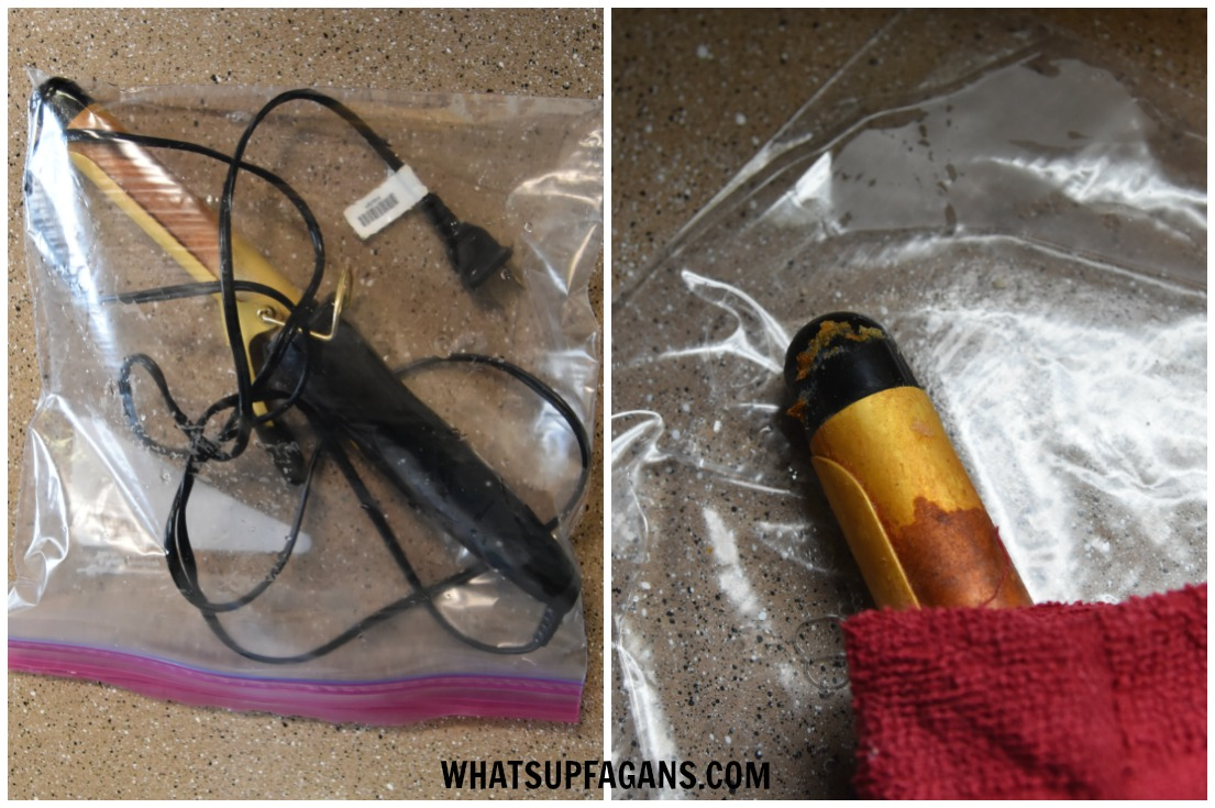 how to clean curling iron with ammonia in a bag