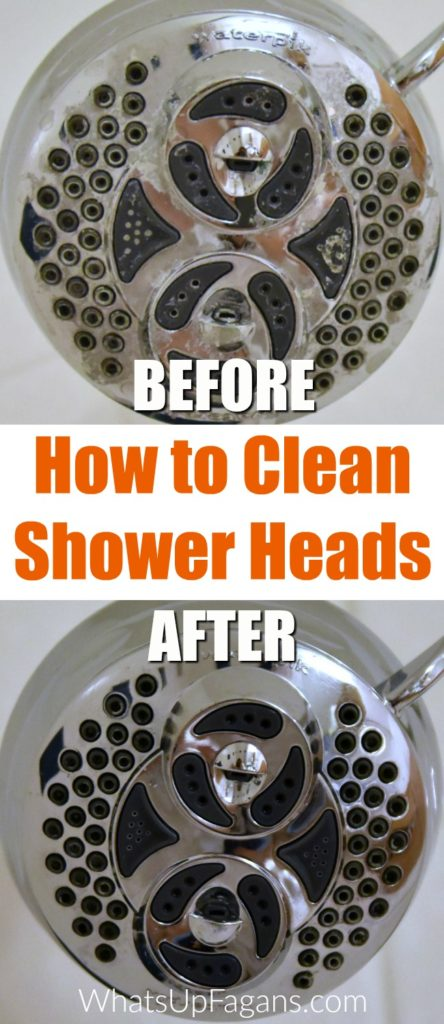 dirty shower head and clean shower head before and after photo showing what the results are of using vinegar to clean shower heads in a soak
