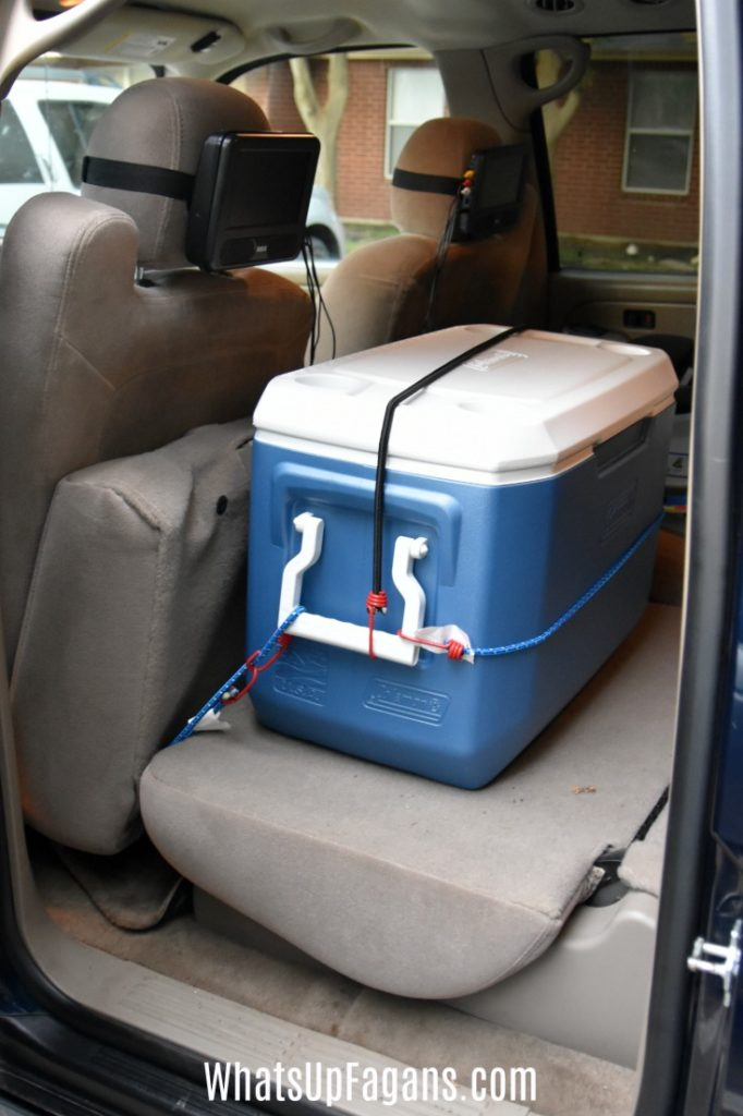 packing cooler in car for road trip safely