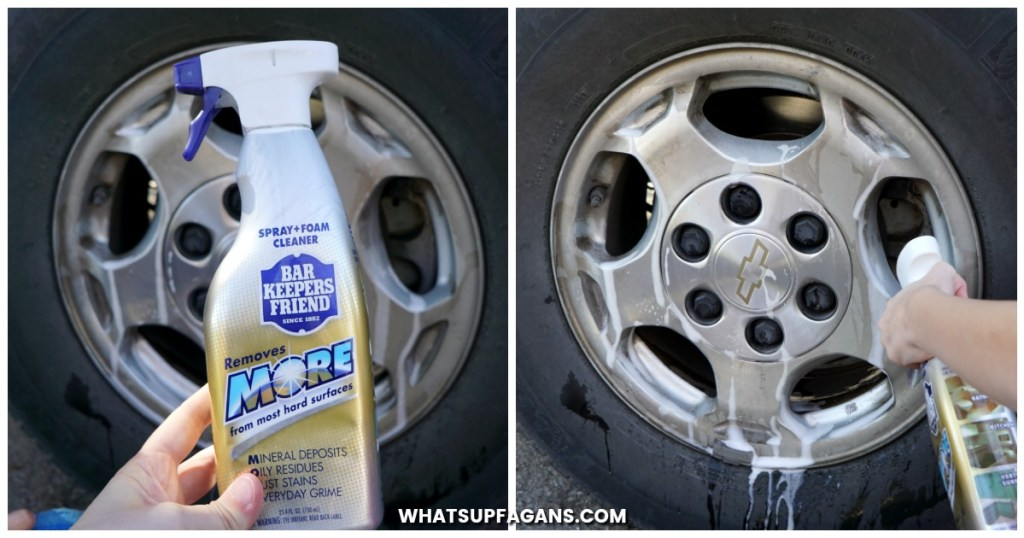 Spray Bar Keepers Friend onto the chrome rim. Spray extra on any tough dirt or rusty spots. Let it sit a minute.
