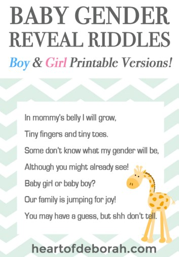 baby gender reveal riddle