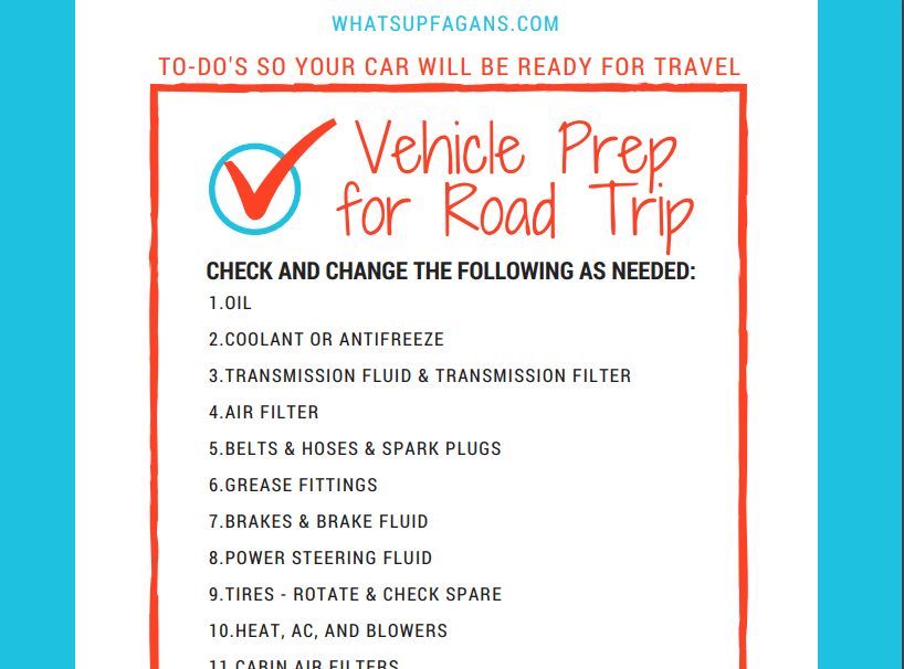 car checklist for road trip printable