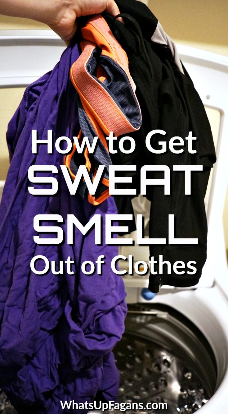 Want to know how to get sweat smell out of clothes, perhaps even how to get smell out of workout clothes that still smell after washing? Below you'll discoverhow to remove sweat smell from shirts and other gym clothes super easily! #workout #clothes #workoutclothes #odor #smell #odorremoval #laundry #laundryhack #exercise #fitness #smelly #gymclothes #gym #sweat #sweatstain