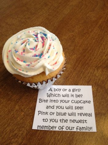gender reveal cupcake poem