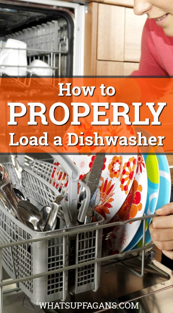 "woman loading a dishwasher with text overlay ""how to properly load a dishwasher"""