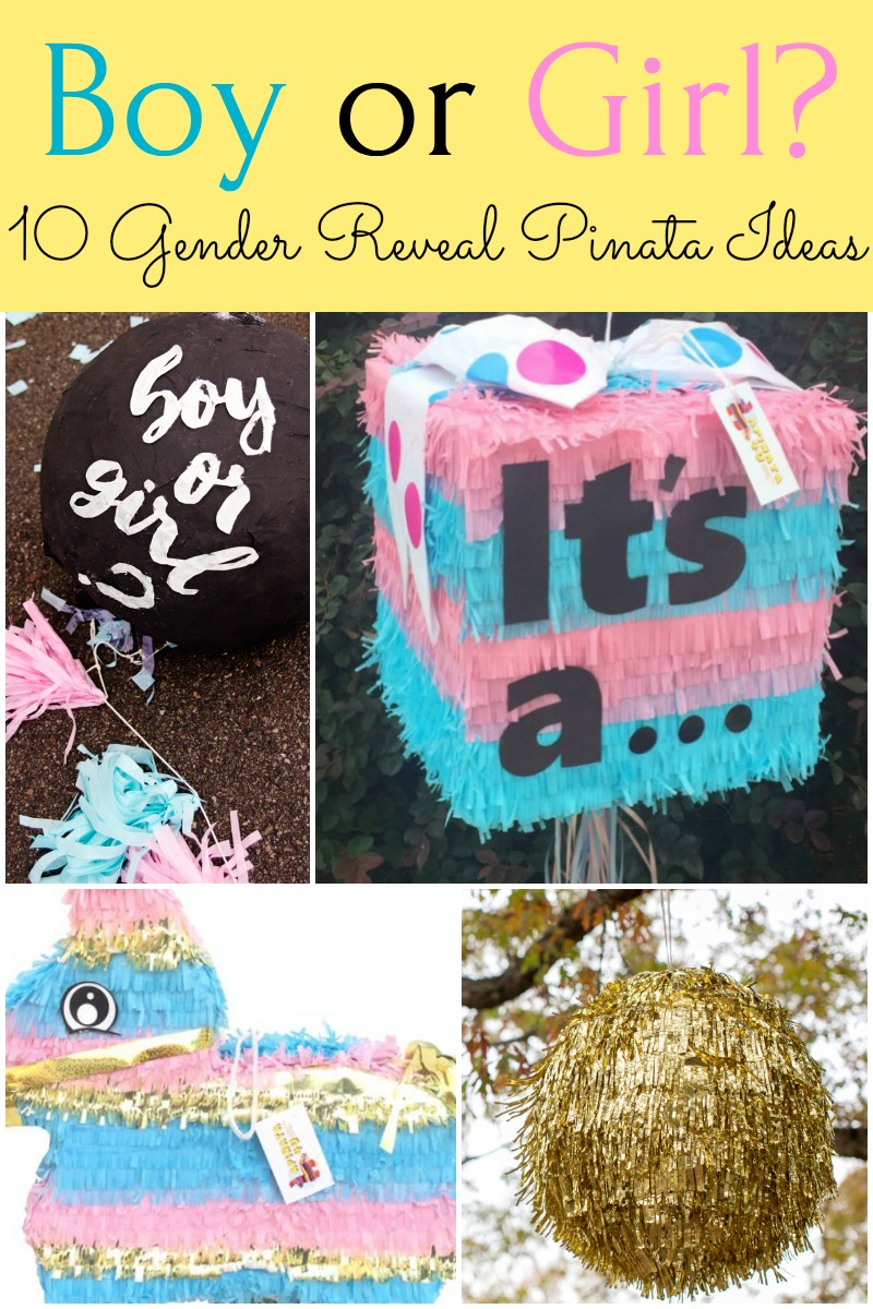 Gender reveal party idea!! Lots of details here on how to make your own DIY gender reveal pinata or where to buy a baby gender reveal pinata during your pregnancy in order to announce the sex of your unborn child. #genderreveal #pregancy #genderrevealparty #pinata #party #partyideas #babyshower