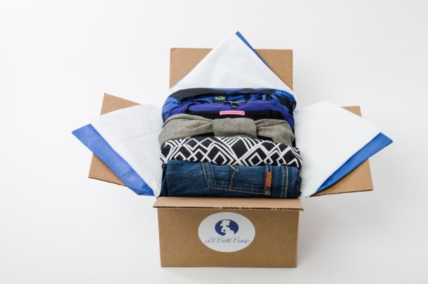 La Belle Bump Maternity Subscription Box full of five rental maternity pieces