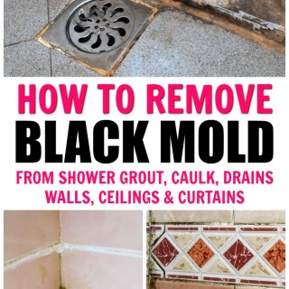 "collage of black mold in showers with text overlay that says ""how to remove black mold from shower grout, caulk, drains, walls, ceilings, and curtains"""