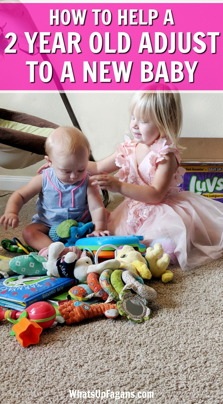 If you are helping a 2-year-old adjust to a new baby, this post is for you! Siblings adjusting to a new baby can be rough, so use these tips for toddlers and above. #toddlers #baby #newborn #siblings #sisters #brothers #family #toddler #newborns #babies