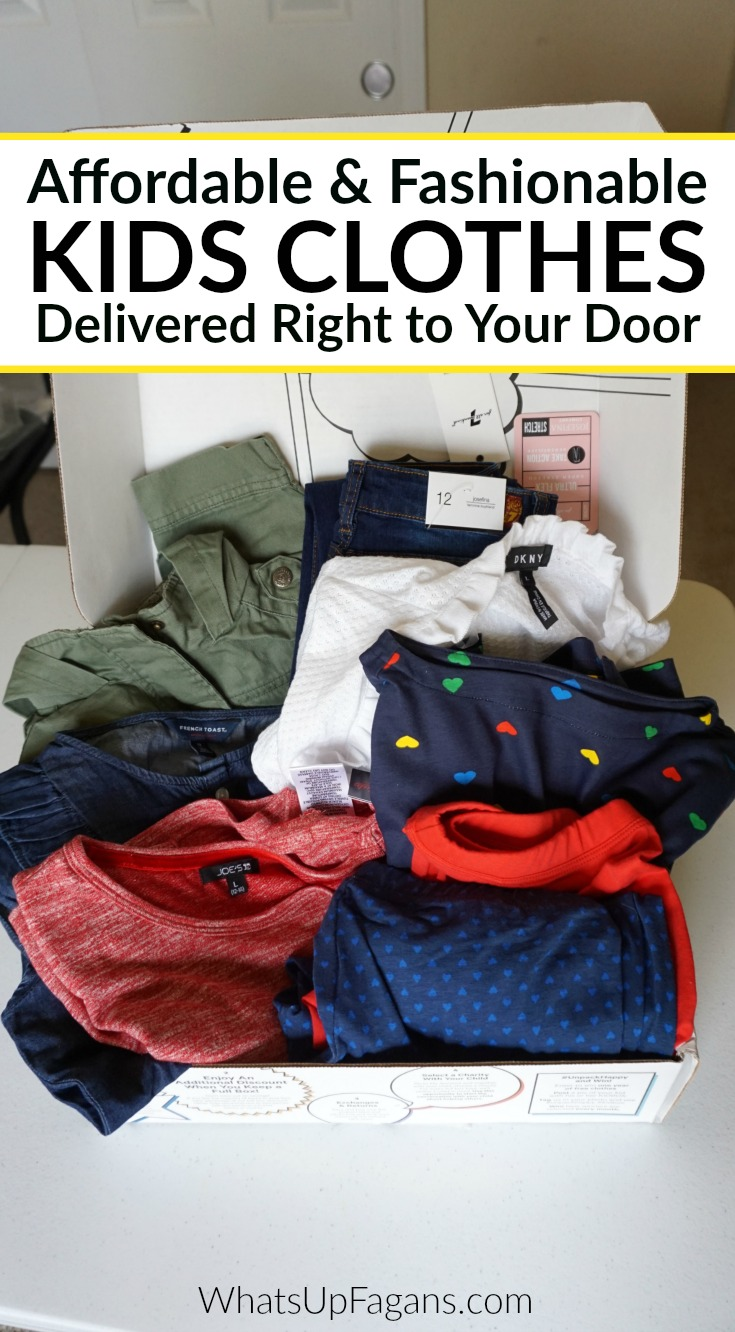 SUPER great way to buy kids clothes! Affordable (cheap) price on namebrand and fashion clothes for girls, boys, and babies. Kidbox is a great subscription box service for children. #kids #kidsclothes #clothes #fashion #subscriptionbox #clothing #style