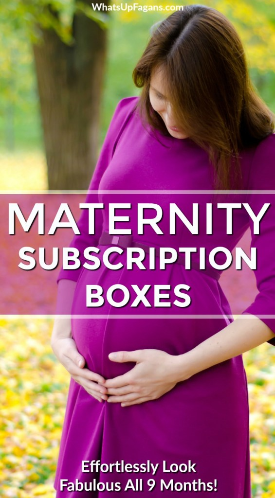 "pregnant woman wearing purple maternity dress in yellow leaves with text overlay saying ""maternity subscription boxes"" and ""effortlessly look fabulous all 9 months"""