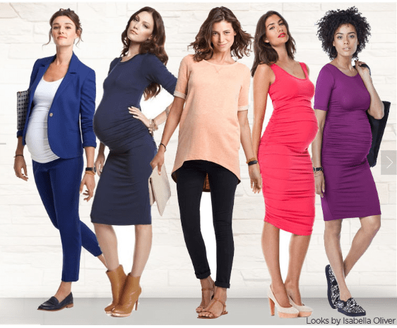 five pregnant women renting maternity clothes from Motherhood Closet