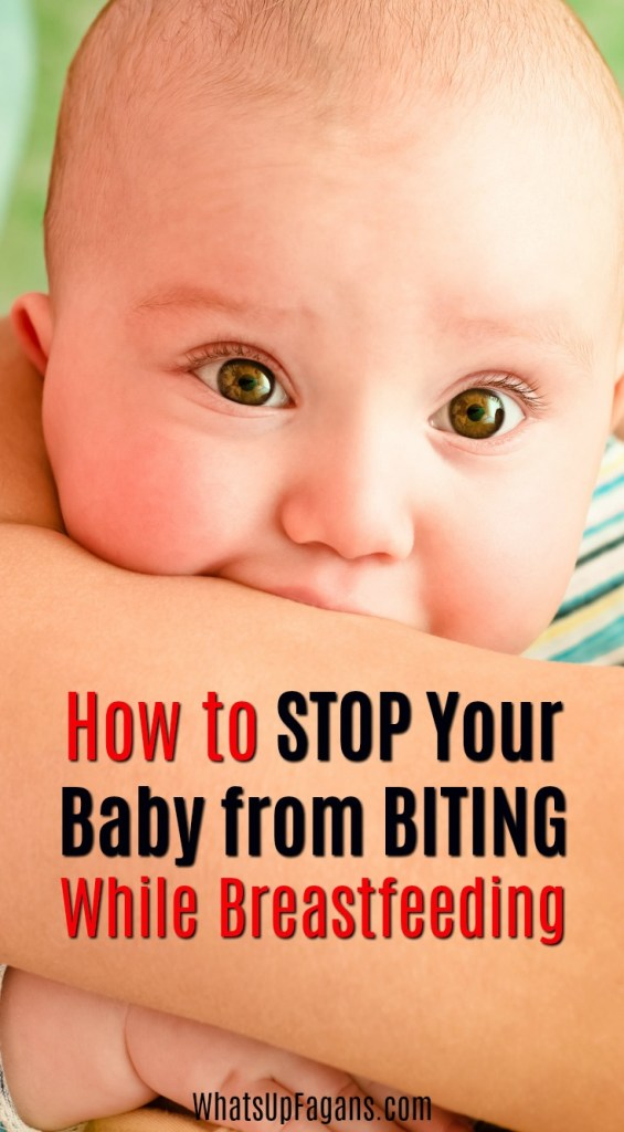 """Closeup of baby biting arm of mother with text that says """"how to stop your baby from biting while breastfeeding"""""""