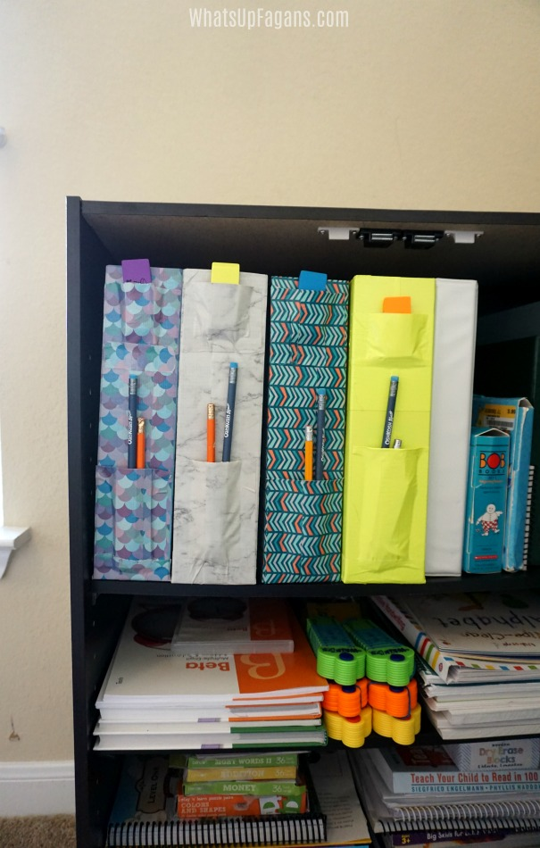 pinterest homeschool rooms organization ideas - DIY magazine folders with Duck brand duct tape that also have pencil and eraser holders on the end.