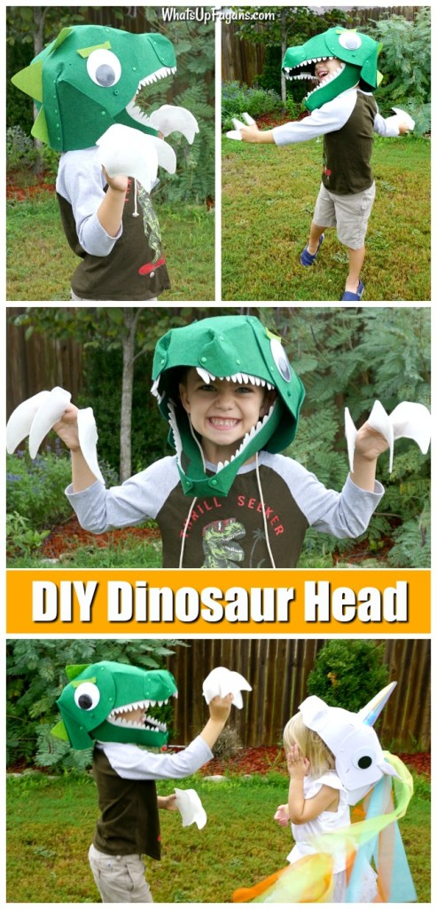 young boy wearing a homemade t rex costume that is a felt dinosaur head and has felt claws