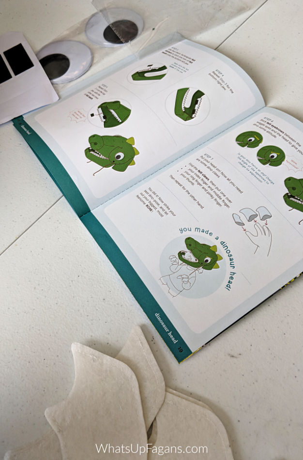 instruction from kiwi crate on how to make a DIY T rex dinosaur costume