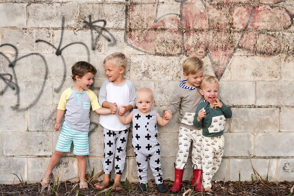 boys clothing subscription box - The boyt box - five cute little toddler boys in adorable outfits against a graffitti wall