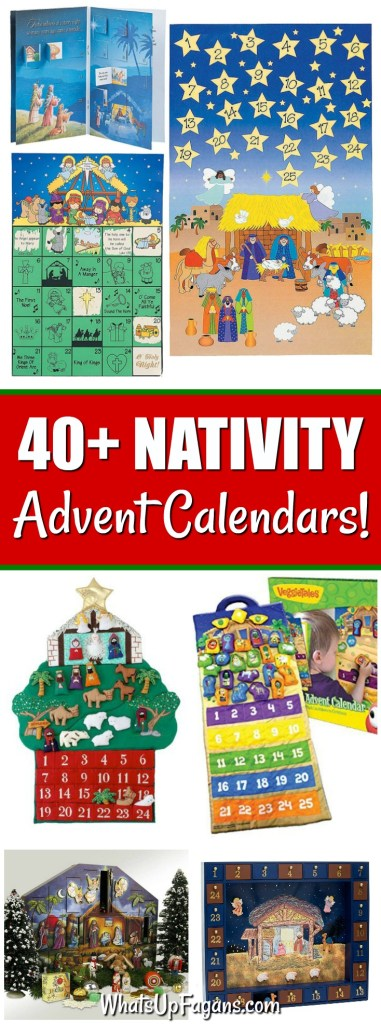 Collage image of nativity advent calendars that are religious advent calendars or Christian advent calendars, perfect for helping kids countdown to Christmas by focusing on the birth of Jesus Christ