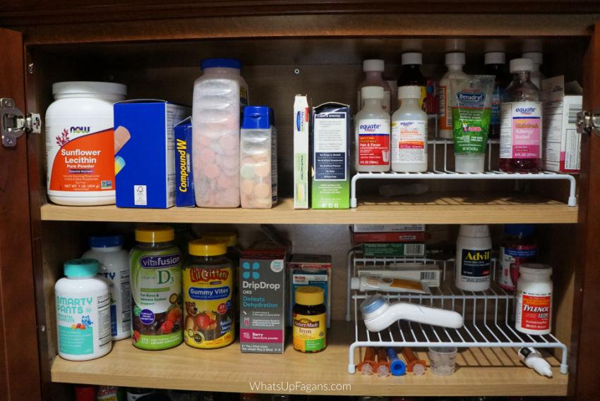 organizing spice cupboard and medicine cabinet