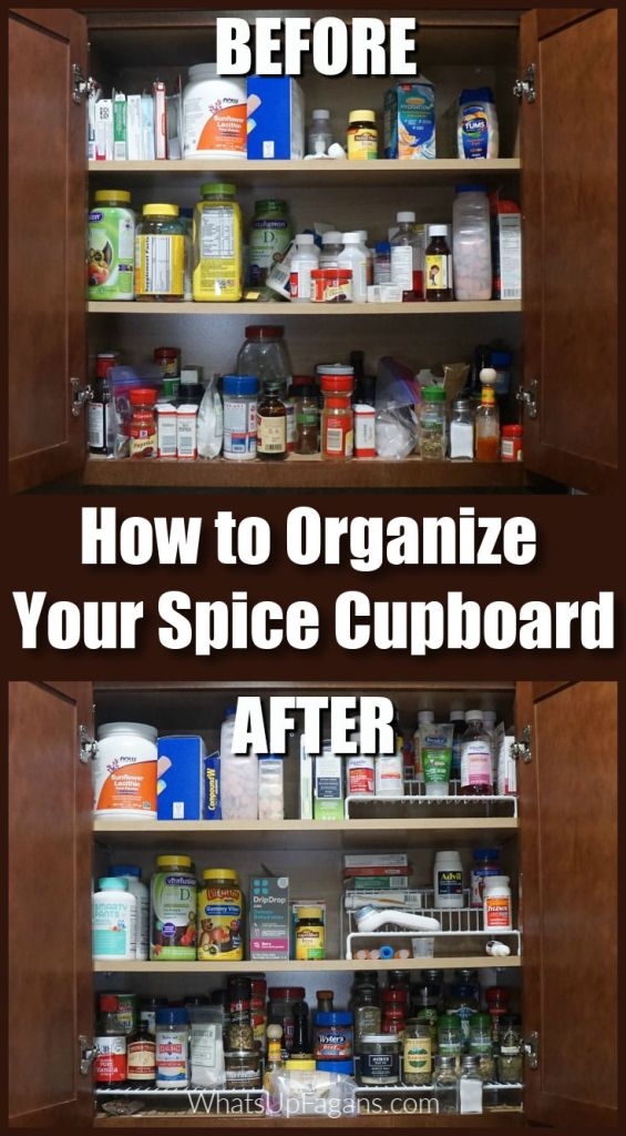 how to organize your spice cabinet - before and after shot for organizing spice cupboard in kitchen
