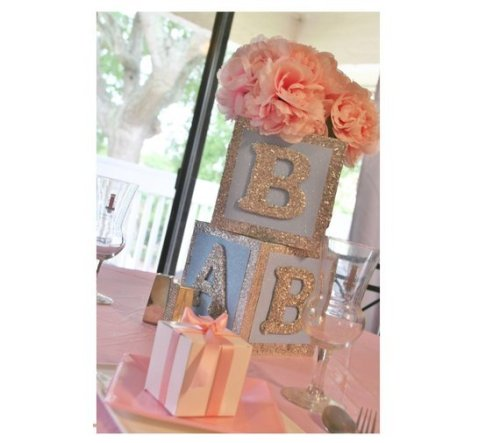 baby pink gender reveal centerpiece made with blocks