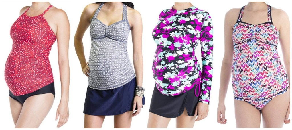 Collage of many different modest maternity swimwear  and modest maternity swimsuits for pregnant women