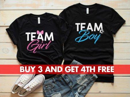 team boy and team girl gender reveal shirts