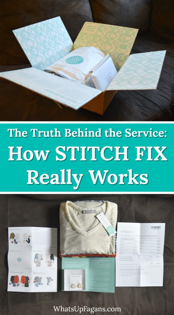 Collage image of an open Stitch Fix box full of Stitch Fix clothes with text overlay that says how Stitch Fix works.
