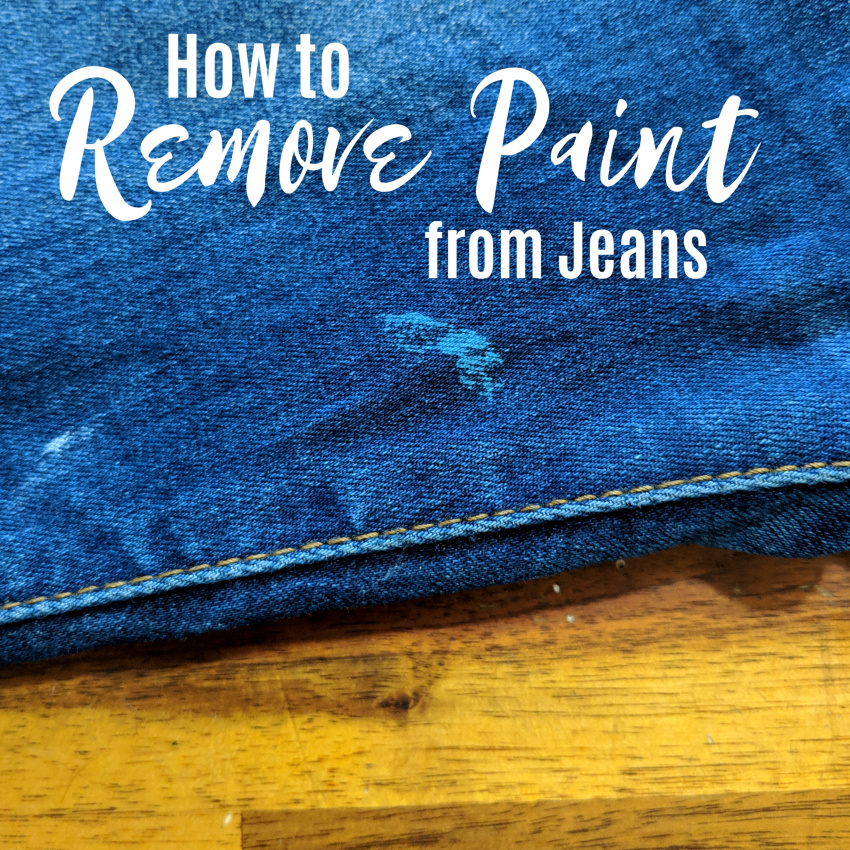 how to remove paint from jeans - image of blue jeans with blue acrylic paint on them