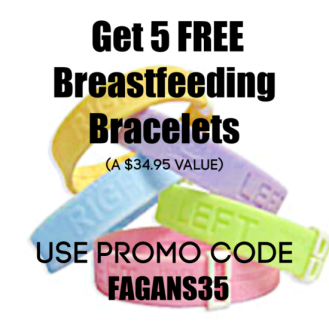 how to get free breastfeeding stuff - promo code FAGANS35 will get you 5 free breastfeeding bracelets called milk bands that help you track your breastfeeding feeding schedules, nursing sides, and more.