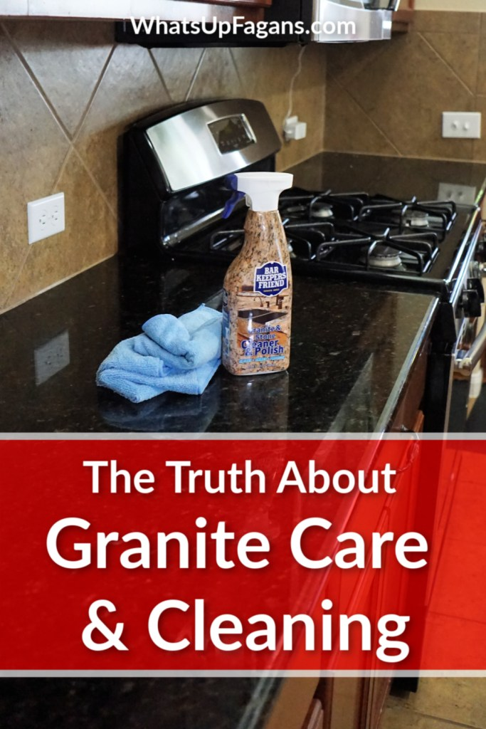 The truth about granite care for kitchen granite countertops and featuring the best granite cleaner, the new Bar Keepers Friend Granite and Stone Cleaner and Polish. Will help you buff granite to streak-free shine and glossy look.