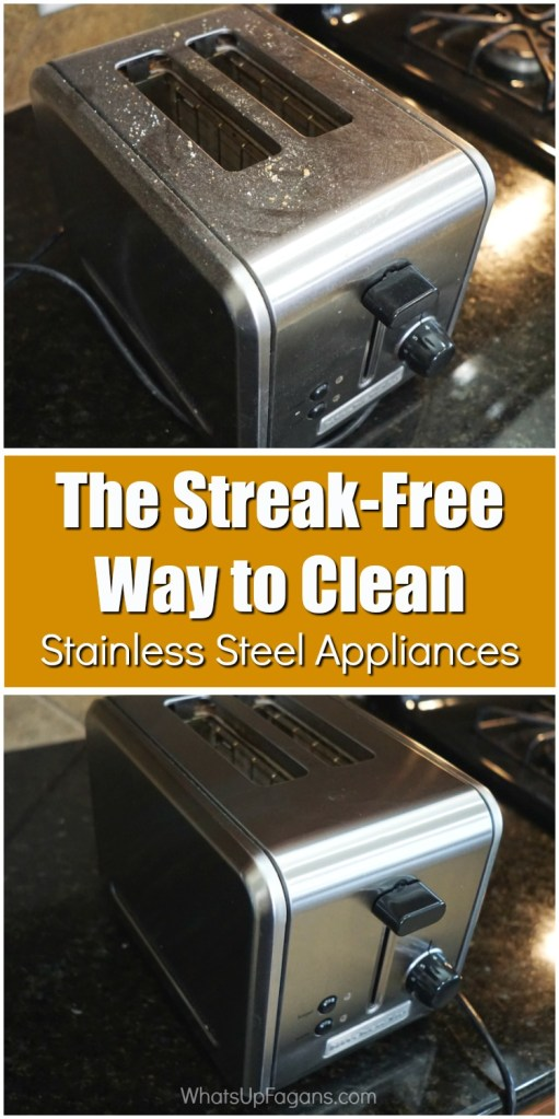 how to clean stainless steel appliances and remove smudges and water marks - before and after of stainless steel toaster