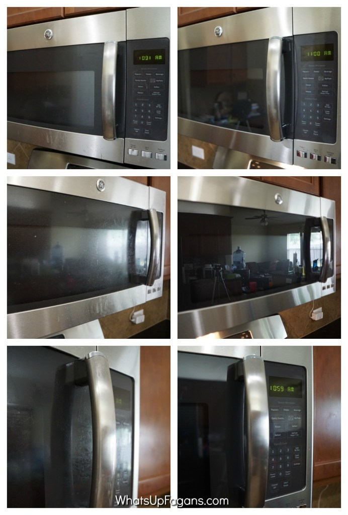 before and after images of a stainless steel appliance, the microwave, after cleaning with stainless steel cleaner Bar Keepers Friend