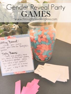 gender reveal party games like guessing how many blue and pink jelly beans are in a jar