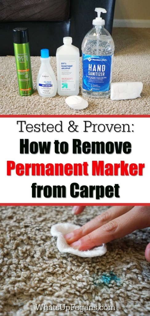 five different products lined up that work to remove permanent marker off carpet