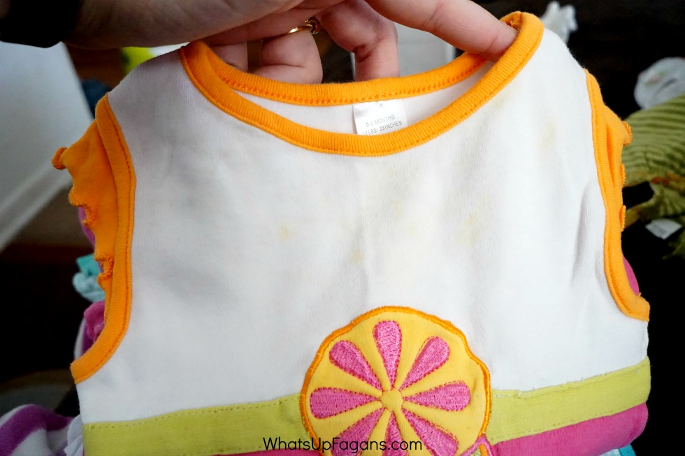 Weird Yellow Spots should be removed before storing baby clothes