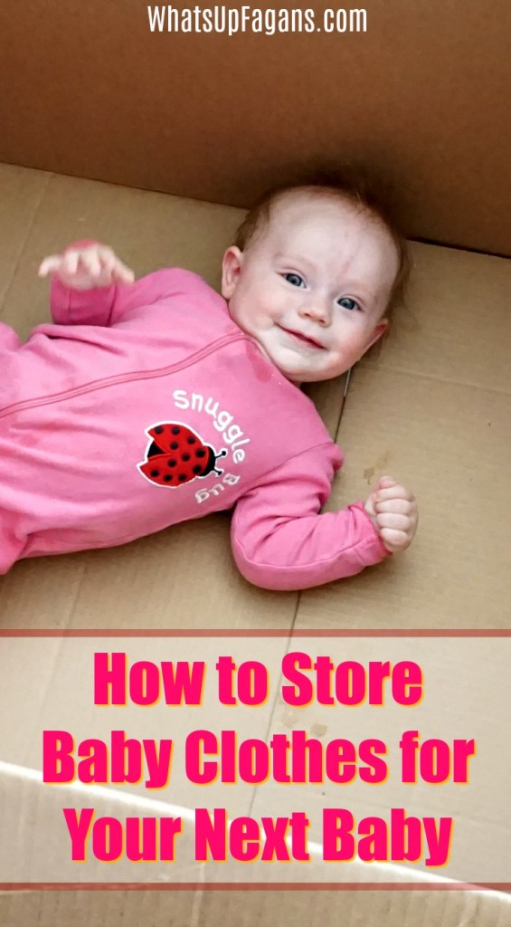 Baby girl in a pink night onesie in a box with text over saying how to store baby clothes for next baby.