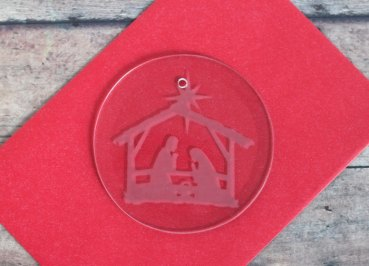 etched glass nativity ornament craft
